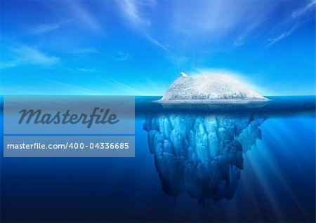 A polar bear on top of a natural iceberg glacier on the North Atlantic. Stock Photo - Budget Royalty-Free, Image code: 400-04336685