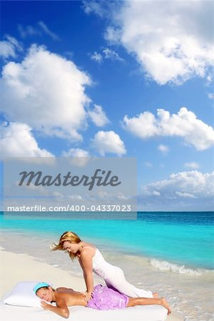 Caribbean beach massage shiatsu waist pressure woman outdoor paradise
