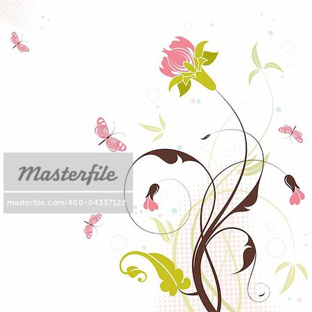 Decorative Floral theme with butterfly, vector illustration