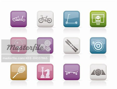 sports equipment and objects icons - vector icon set 2 Stock Photo - Budget Royalty-Free, Image code: 400-04337865