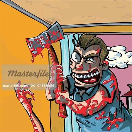 A cartoon of a axe murderer going about his bloody business Stock Photo - Budget Royalty-Free, Image code: 400-04338036