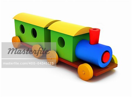 3d colorful plastic train isolated on white background