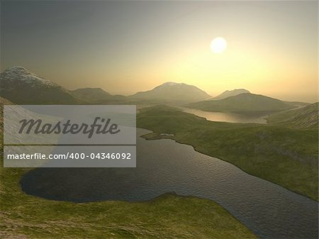 3d illustration of a mountain range Stock Photo - Budget Royalty-Free, Image code: 400-04346092