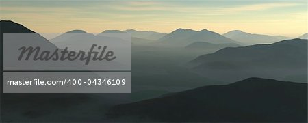 3d illustration of a mountain range Stock Photo - Budget Royalty-Free, Image code: 400-04346109