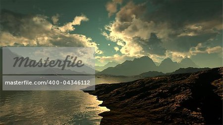 3d illustration of a mountain range Stock Photo - Budget Royalty-Free, Image code: 400-04346112