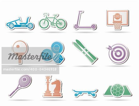 sports equipment and objects icons - vector icon set 2 Stock Photo - Budget Royalty-Free, Image code: 400-04346918