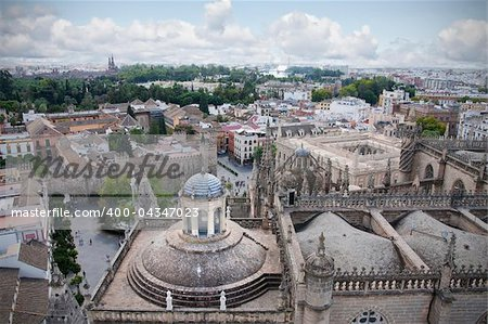 The city of Seville from the tower of the cathedral
