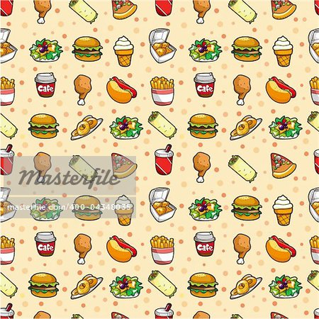 seamless fast food pattern Stock Photo - Budget Royalty-Free, Image code: 400-04348035