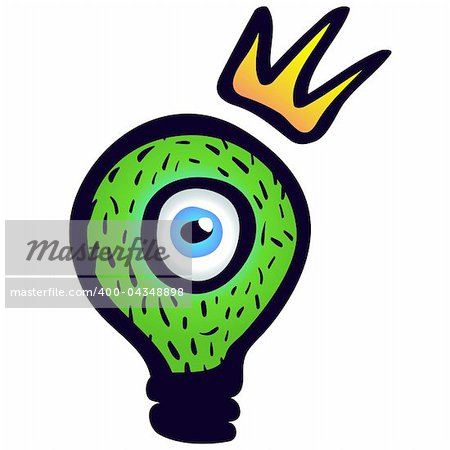 Green light bulb with eye and crown. Stock Photo - Budget Royalty-Free, Image code: 400-04348898