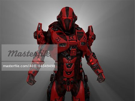 3d illustration of advanced future soldier Stock Photo - Budget Royalty-Free, Image code: 400-04349498