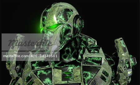 3d illustration of advanced future soldier Stock Photo - Budget Royalty-Free, Image code: 400-04349501