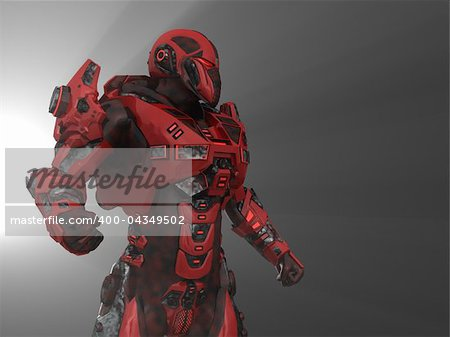 3d illustration of advanced future soldier Stock Photo - Budget Royalty-Free, Image code: 400-04349502