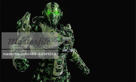 3d illustration of advanced future soldier Stock Photo - Budget Royalty-Free, Image code: 400-04349503