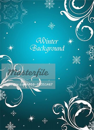 Illustration winter floral background with snowflake - vector Stock Photo - Budget Royalty-Free, Image code: 400-04351467