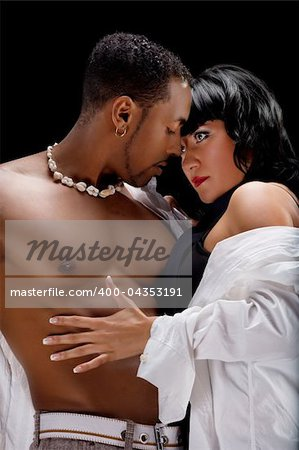 Fashion Couple Dramatic image shot in studio Stock Photo - Budget Royalty-Free, Image code: 400-04353191