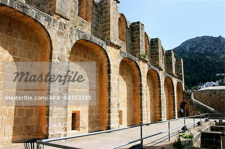 Historic Bellapais Abbey in Kyrenia, Northern Cyprus.Original construction was built between 1198-1205, it is the most beautiful Gothic building in the Near East. Stock Photo - Budget Royalty-Free, Image code: 400-04353195