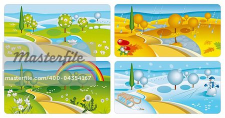 Set of four seasons banners. Vector Illustration (EPS v. 10) Stock Photo - Budget Royalty-Free, Image code: 400-04354167