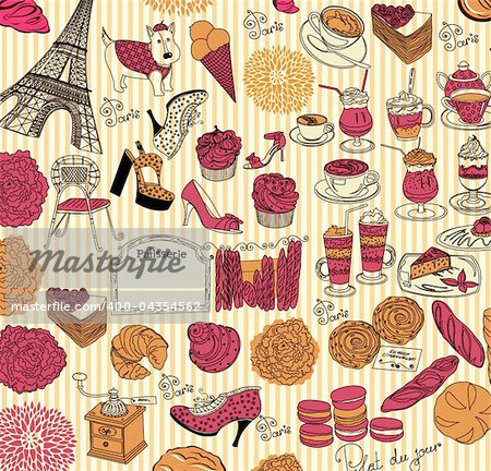 Hand drawing collection symbols of Paris Stock Photo - Budget Royalty-Free, Image code: 400-04354562