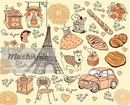 Hand drawing collection symbols of Paris Stock Photo - Budget Royalty-Free, Image code: 400-04354573