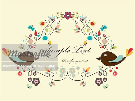 Vector floral frame with birds Stock Photo - Budget Royalty-Free, Image code: 400-04355868