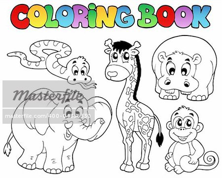 Coloring book with African animals - vector illustration. Stock Photo - Budget Royalty-Free, Image code: 400-04356330