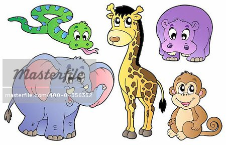 Set of cute African animals - vector illustration. Stock Photo - Budget Royalty-Free, Image code: 400-04356352