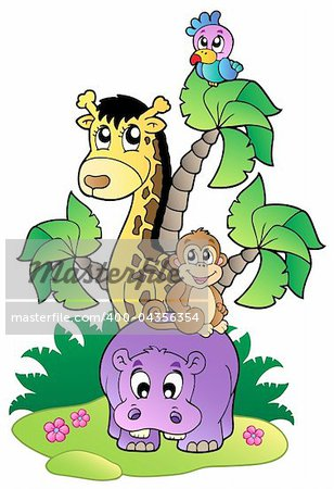 Various cute African animals 2 - vector illustration.