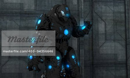 Quality 3d illustration of a future soldier Stock Photo - Budget Royalty-Free, Image code: 400-04356646