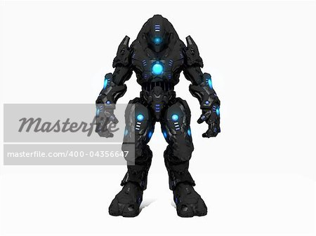 Quality 3d illustration of a future soldier Stock Photo - Budget Royalty-Free, Image code: 400-04356647