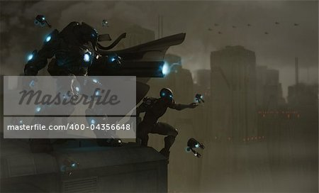 Quality 3d illustration of a future soldier Stock Photo - Budget Royalty-Free, Image code: 400-04356648