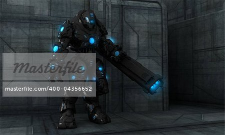 Quality 3d illustration of a future soldier Stock Photo - Budget Royalty-Free, Image code: 400-04356652