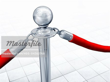 Illustration of velvet rope and stand close up Stock Photo - Budget Royalty-Free, Image code: 400-04362768