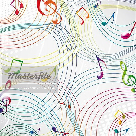 Colourful music note on a grey background eps10.