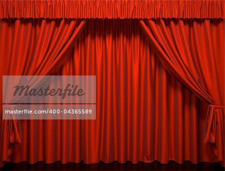 Red curtain on the stage. Theater Performance Stock Photo - Budget Royalty-Free, Image code: 400-04365589