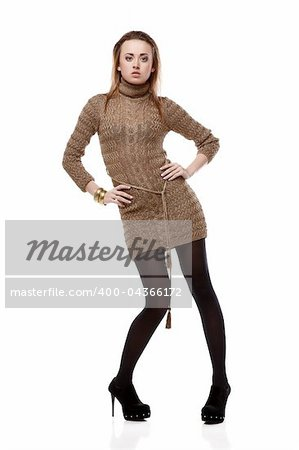 Woman in knitted wool dress isolated on white background Stock Photo - Budget Royalty-Free, Image code: 400-04366172