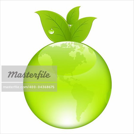 Green Earth Concept, Isolated On White Background, Vector Illustration