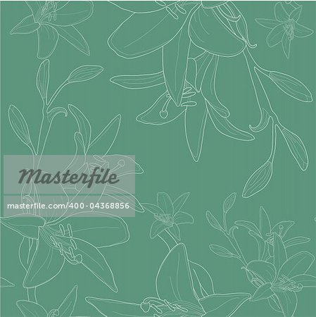 Vector illustration of green seamless pattern with lilies