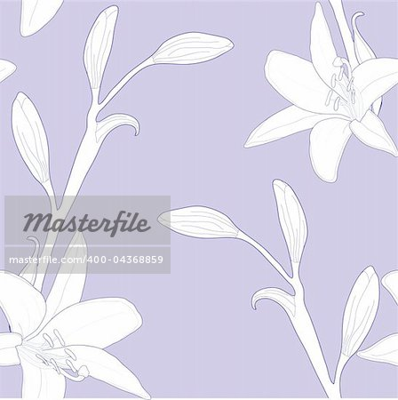 Seamless pattern with lilies, vector illustration