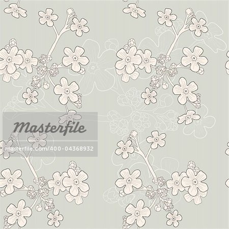 Vector of grey seamless pattern with beige forget-me-nots