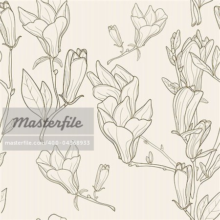 Seamless pattern with magnolias, vector