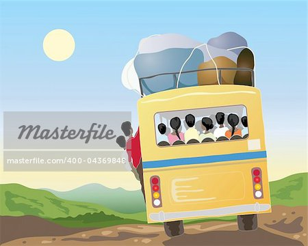 an illustration of a yellow bus full of passengers and luggage going through beautiful countryside in asia under a blue sky Stock Photo - Budget Royalty-Free, Image code: 400-04369848