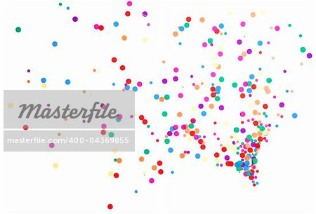 colored round confetti spilled on white