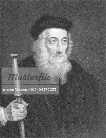 John Wiclif (1320s-1384) on engraving from the 1800s. English theologian, lay preacher, translator, reformist and university teacher. Engraved by J. Pofselwhite and published in London by Charles Knight, Ludgate Street. Stock Photo - Budget Royalty-Free, Image code: 400-04370233