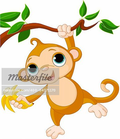Cute baby monkey on a tree holding banana Stock Photo - Budget Royalty-Free, Image code: 400-04371170