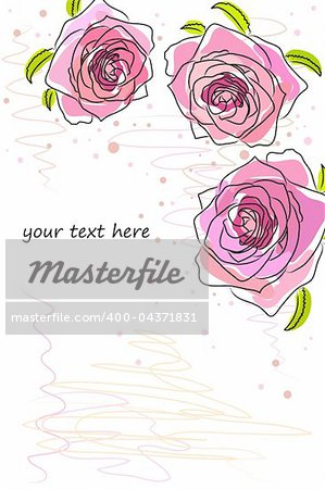 beautiful Floral vector background (flowers on white) Stock Photo - Budget Royalty-Free, Image code: 400-04371831