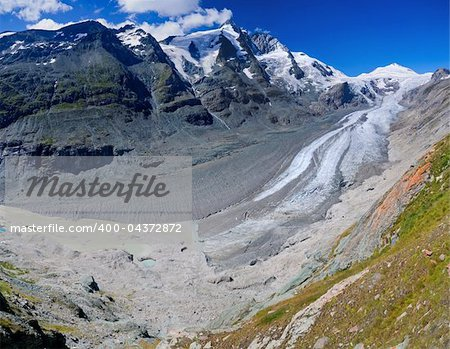 Glacier on Grossglockner, summer in Austria. Panorama Stock Photo - Budget Royalty-Free, Image code: 400-04372872