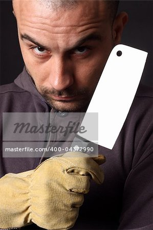 Portrait of scary man with cleaver Stock Photo - Budget Royalty-Free, Image code: 400-04372990