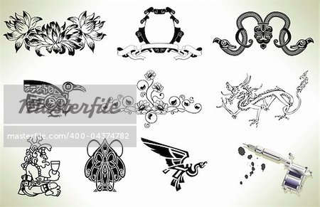 Series set of tattoo flash design elements with tattooists gun or machine Stock Photo - Budget Royalty-Free, Image code: 400-04374782