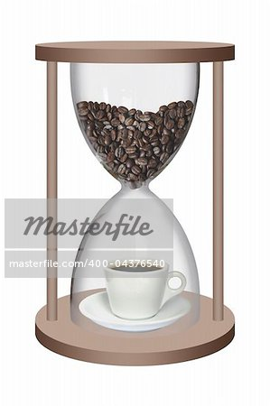 Coffee beans and a cup of coffee inside the sand watch Stock Photo - Budget Royalty-Free, Image code: 400-04376540