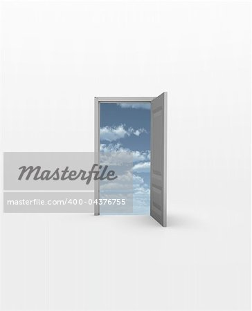 Door opens to Sky in white Stock Photo - Budget Royalty-Free, Image code: 400-04376755